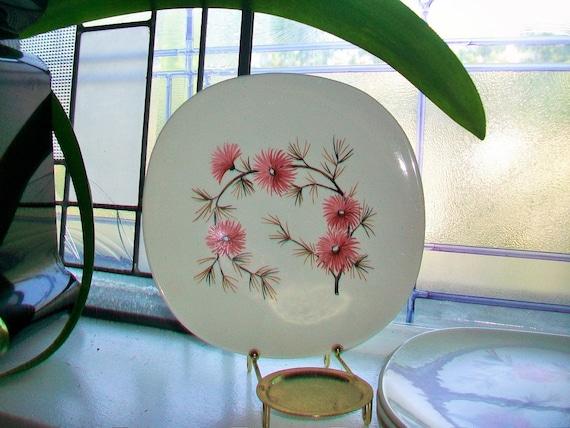 5 Coral Pine Salad Plates Edwin Knowles Criterion Shape Vintage 1960s