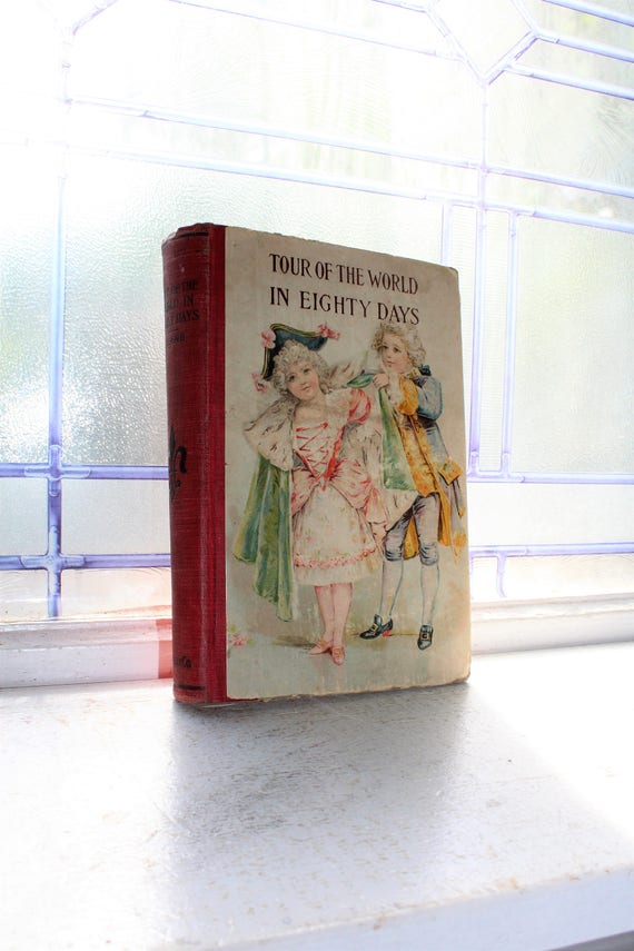 Tour Of The World In Eighty Days Jules Verne Antique Book