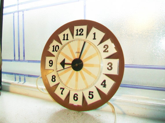 Mid Century Kitchen Clock Brown Wall Clock Sunbeam