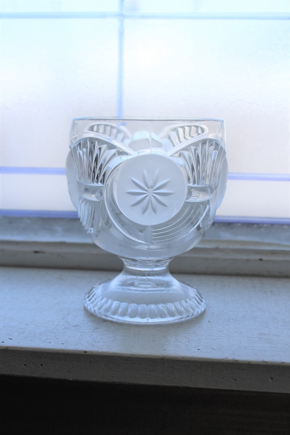 EAPG Glass Sugar Bowl Horn of Plenty Frosted Circle Late 1800s Antique