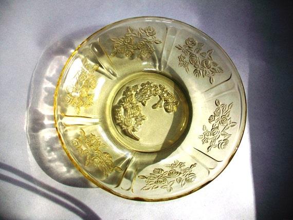 Vintage Amber Depression Glass Berry Bowls Sharon Cabbage Rose 1930s Set of 4