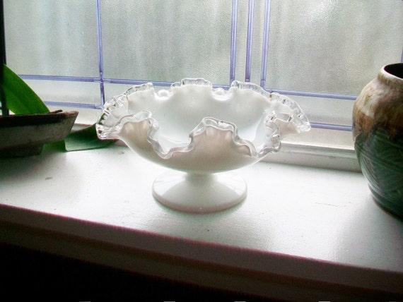 Vintage Fenton Glass Silver Crest Compote Dish Pedestal Dish 1960s