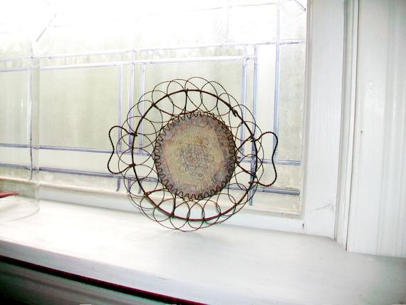 Victorian Wire Basket Bowl With Saucer Insert