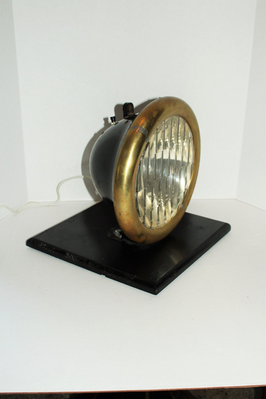 Vintage Car Headlight Table Lamp Warner Patterson Lenz