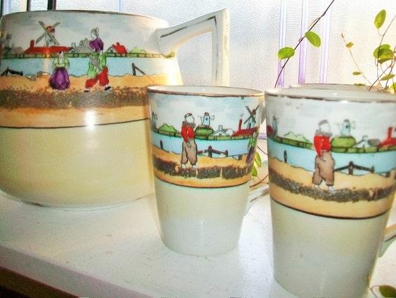 Dutch Scene Pitcher and 6 Cups 1930s Lemonade Set or Iced Tea Set Vintage Serving