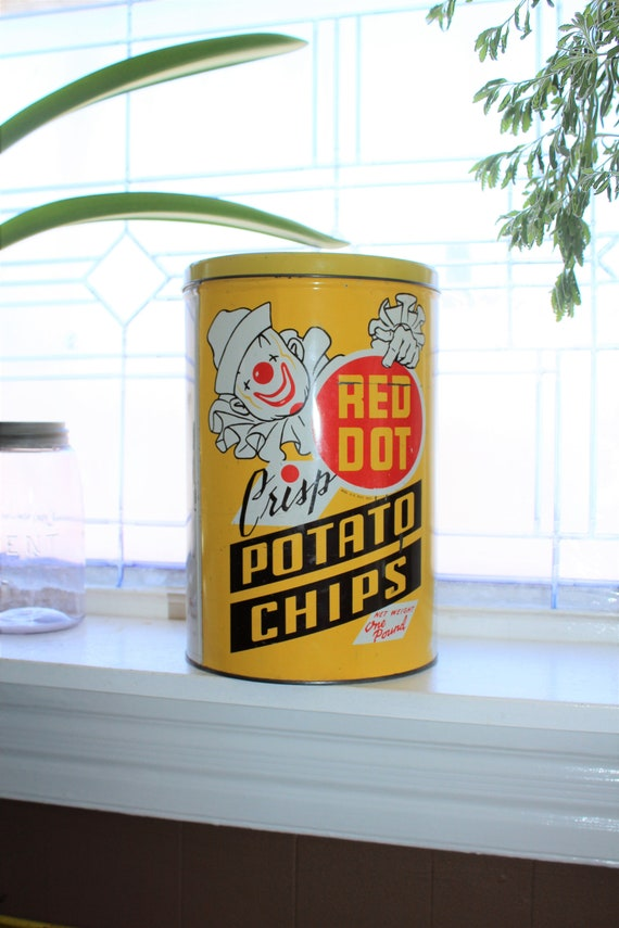 Vintage Red Dot Potato Chips Tin 1950s Mid Century Kitchen Decor