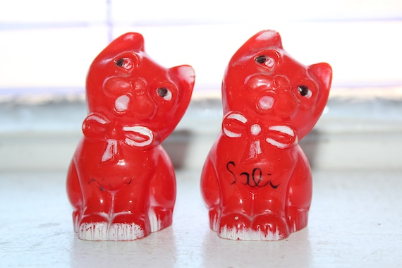 Vintage Cat Salt and Pepper Shakers 1950s