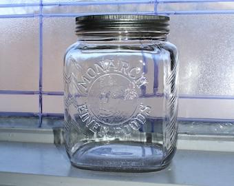Vintage Monarch Finer Foods Jar Kitchen Canister Embossed Lion Head