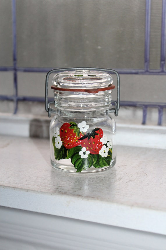 Small Vintage Jar Half Pint with Hand Painted Strawberries Glass Lid