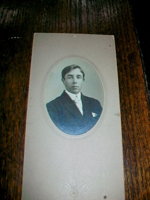 Vintage Cabinet Card Photograph Young Edwardian Man 1900s 9 x 4