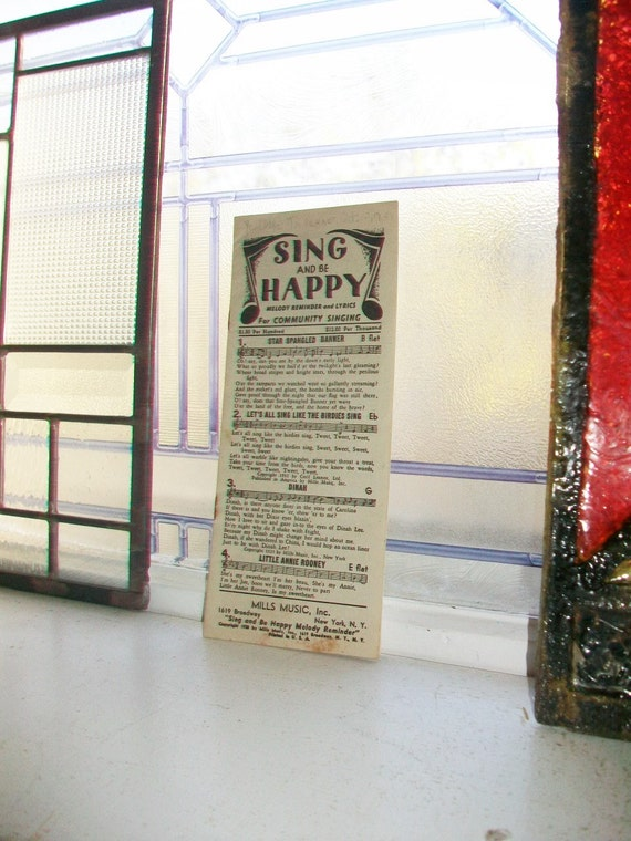 Sing and Be Happy Melody Reminder Vintage 1928 Song Lyrics Booklet