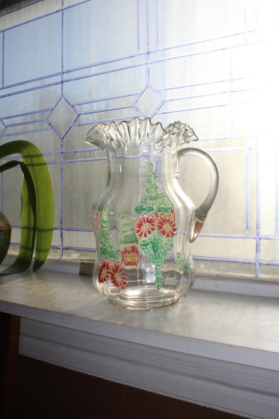 Large Antique Victorian Glass Lemonade Pitcher 19th Century Decor