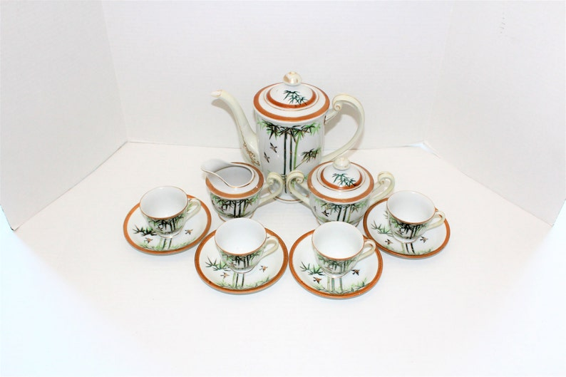 Occupied Japan Tea Set Bamboo and Birds Vintage 1940s