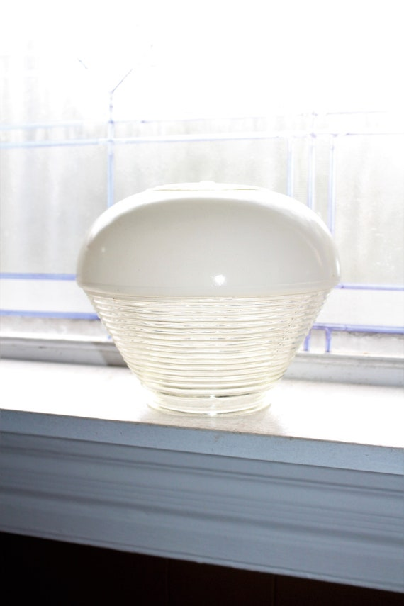 1950s Ceiling Light Fixture Globe Art Deco Style White Glass Globe