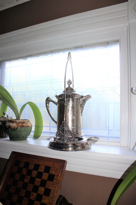 Antique 1800s Victorian Silverplate Tilting Pitcher & Stand
