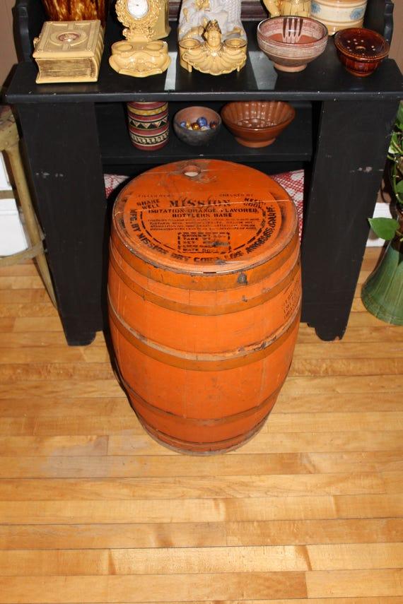 """Large Mission Orange Soda Wood Barrel Vintage 1930s 24"""""""