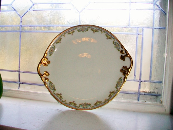 William Guerin and Co Limoges Cake Plate Heavy Gold Trim