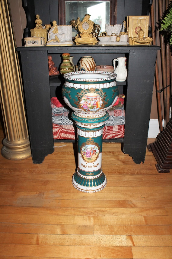 Polychrome Pottery Jardiniere & Pedestal Asian with Colonial Figures
