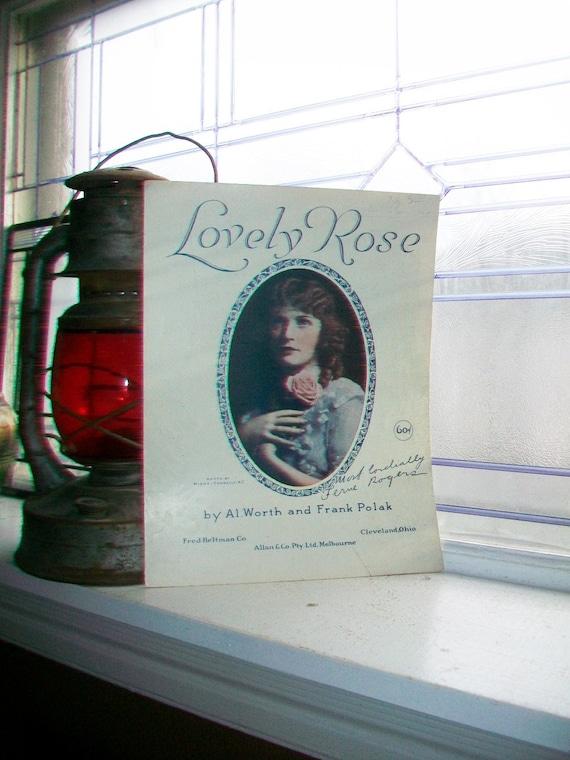 Vintage Sheet Music 1920 Lovely Rose