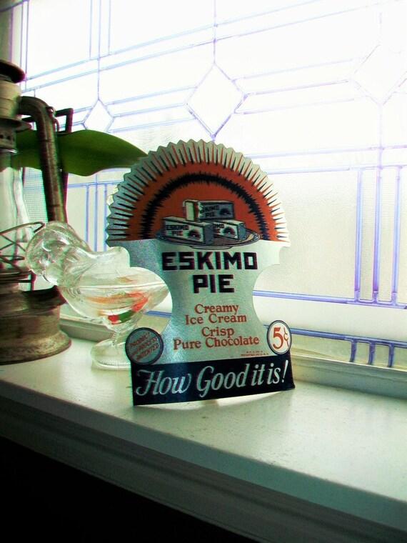 Vintage 1930s Eskimo Pie Cardboard Sign Easel Sign Ice Cream