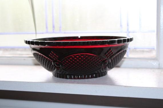 Ruby Red Avon Cape Cod Serving Bowl Fostoria Unused with Box