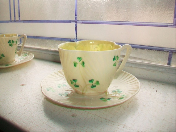 Vintage Irish Belleek Cup and Saucer Second Green Mark 1955 to 1965