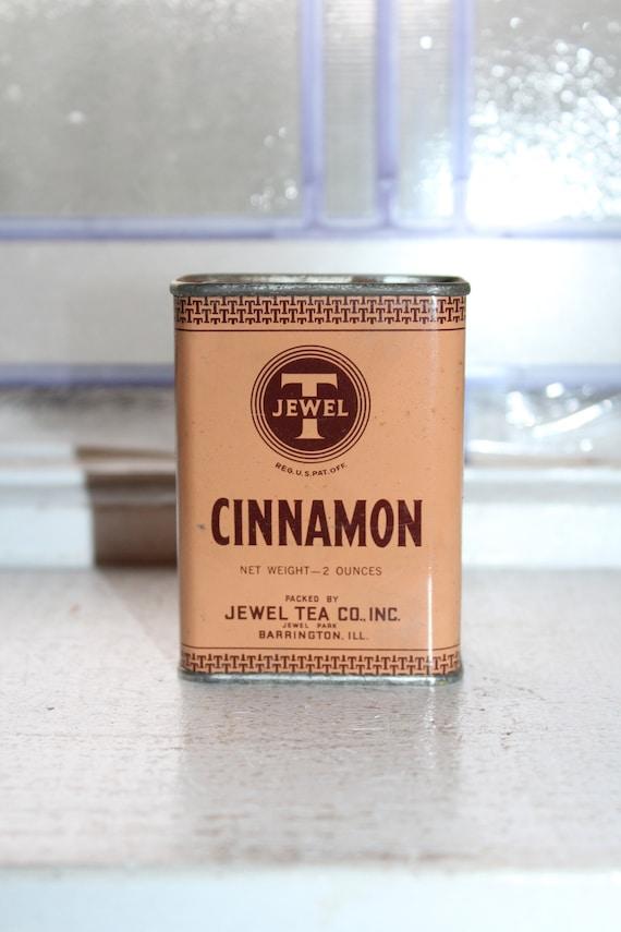 Vintage Kitchen Spice Tin Jewel T Cinnamon