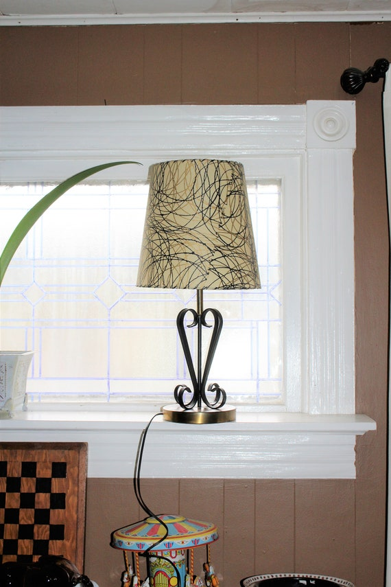 Vintage Mid Century Table Lamp and Shade 1950s Black and Brown