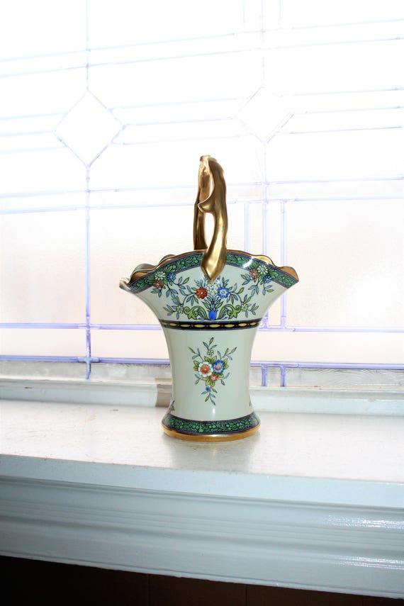"Vintage 1930s Noritake Flower Basket 10"" with Heavy Gilt Gold Trim"