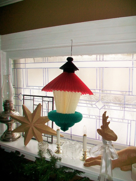 Large Vintage Christmas Lantern Decoration Honeycomb Crepe Paper 17 Inch 1950s