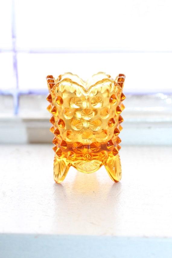 Vintage Footed Toothpick Holder Fenton Amber Glass Hobnail
