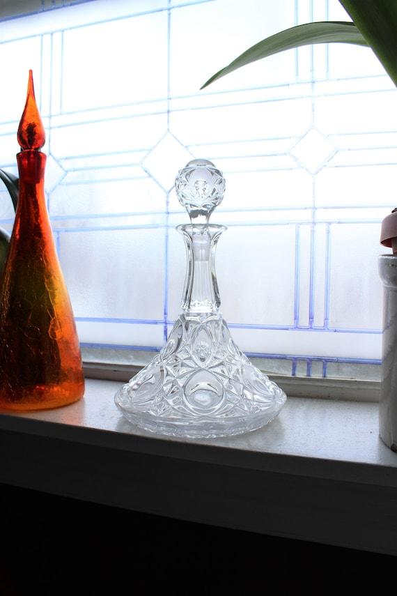 Crystal Ships Decanter Liquor Bottle Vintage Barware