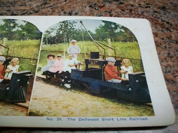 Antique Stereoview Card Dellwood Short Line Railroad