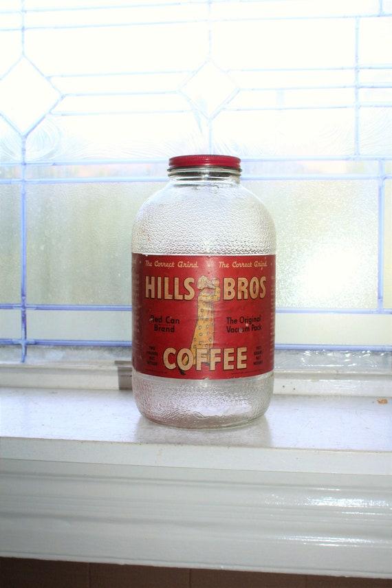 Large Vintage Hills Bros Coffee Jar 1940s Kitchen Decor 2 Lb. Size