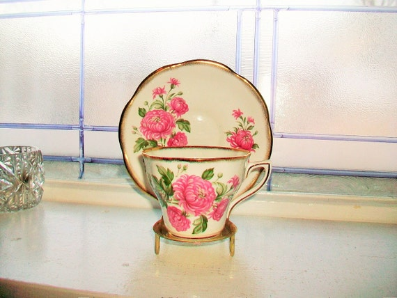 Rosinia Tea Cup and Saucer Pink Flowers Vintage