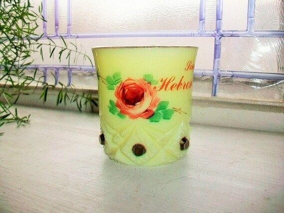 EAPG Souvenir Glass Cup Yellow Custard Hebron North Dakota Antique Pattern Glass
