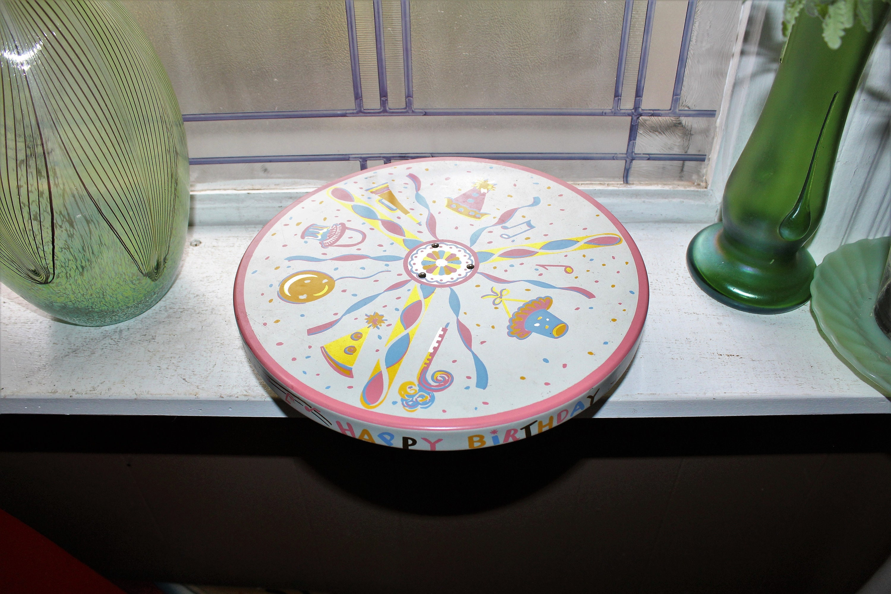 Vintage Cake Stand Musical Rotating Happy Birthday With Original Box
