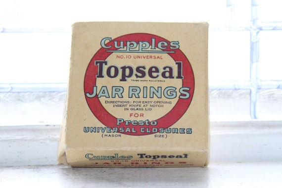 Vintage Cupples Topseal Rubber Jar Rings Box with 12 Rings 1940s