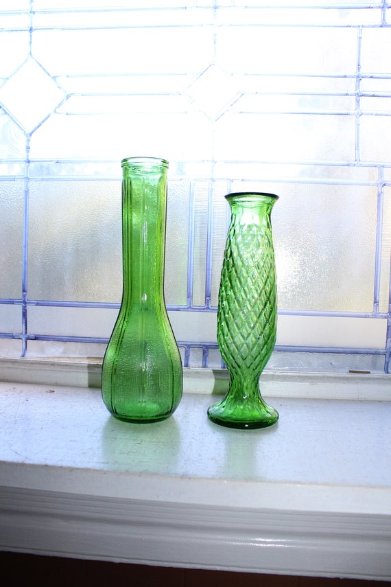 Pair of Forest Green Bud Vases Vintage Glass