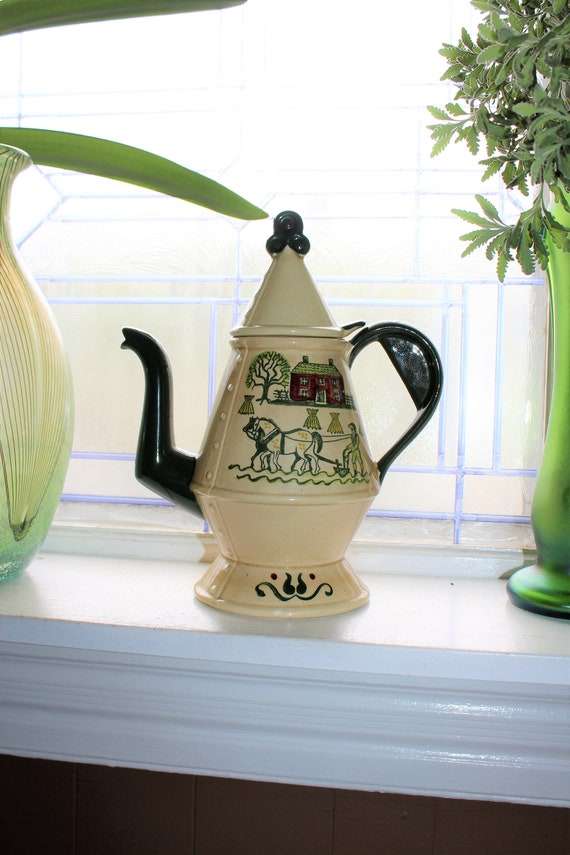 Metlox Poppytrail Coffee Pot Vintage Homestead Pattern