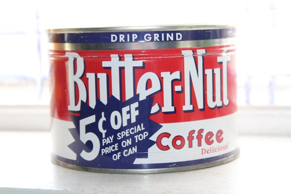 Vintage Coffee Tin Butter Nut Coffee Can 1 Lb Size Rustic Farmhouse