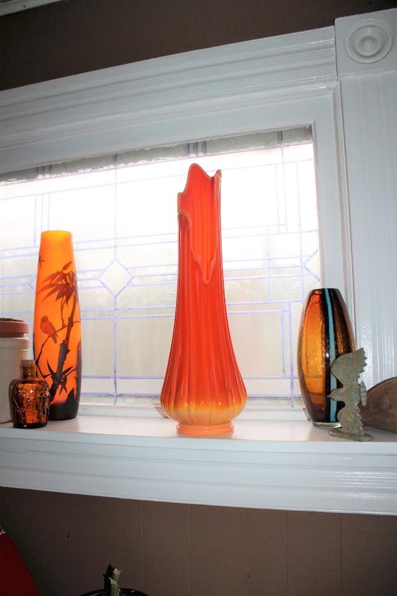 "Large Orange Glass Vase 20.75"" Vintage Mid Century Modern Swung Glass"