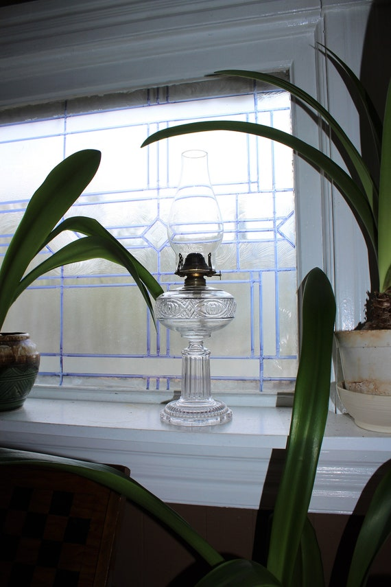 Antique EAPG Glass Oil Lamp with Chimney Victorian Decor