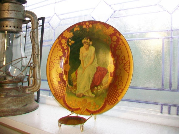 Antique Vienna Art Plate Tin Art Nouveau Woman Portrait Plate