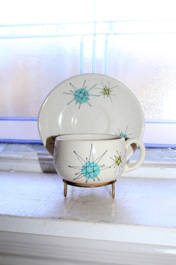 Franciscan Starburst Cup and Saucer Vintage Mid Century Atomic 1950s