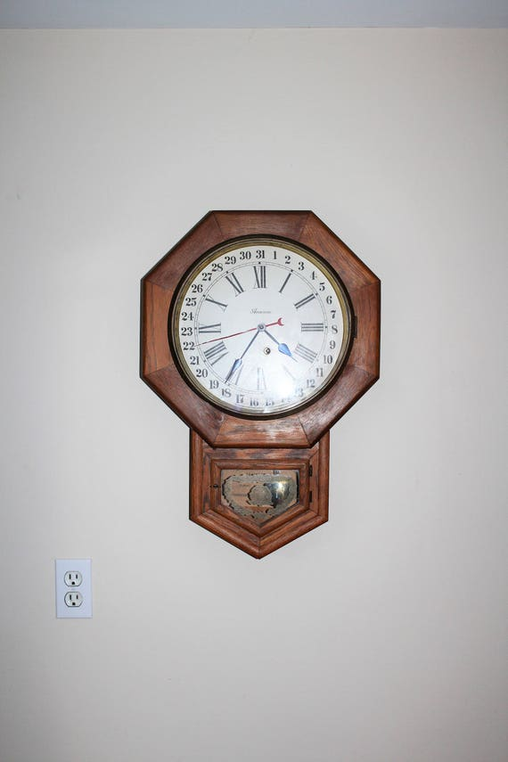 Antique Ansonia Wall Clock 8 Day Short Drop Calendar Oak Case