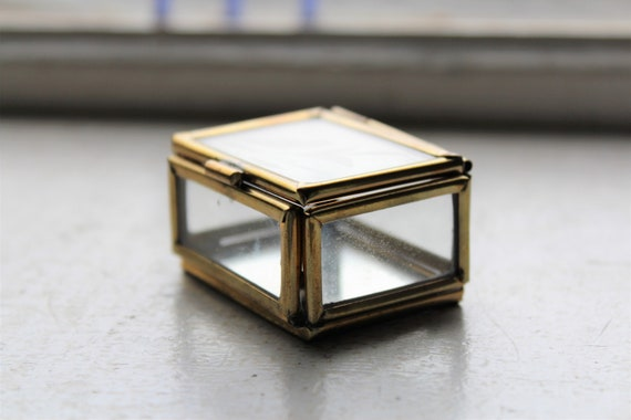 Vintage Jewelry Casket Ring Box Brass and Etched Glass