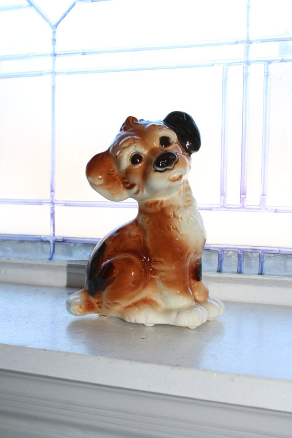 Royal Copley Puppy Dog Figurine Vintage 1950s
