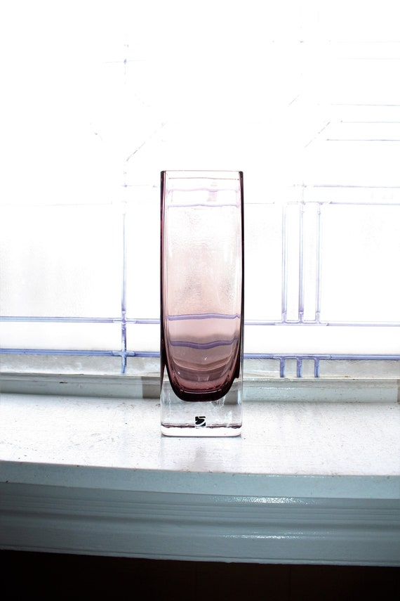 Sea Glasbruk Swedish Purple Vase Cased Glass