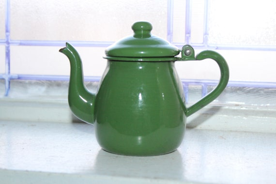 Vintage Green Enamelware Teapot Small Graniteware Tea Pot Toy Size